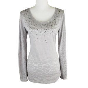 MAURICES Grey Tee, Silver Grommets, Size Medium
